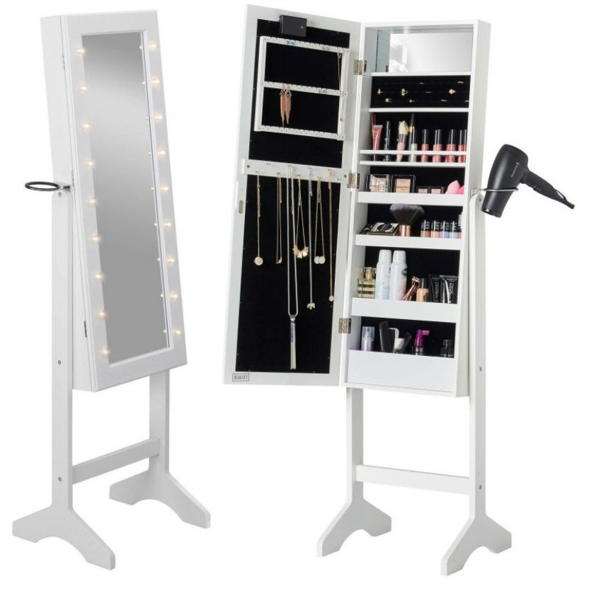 Mirror Jewelry Cabinet Jewellery Make Up Storage Box Floor