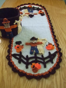 CV041 Pumpkins for Sale Table Runner - First Class Mail : Crochet Pattern for Pumpkins for Sale Table Runner and Bucket