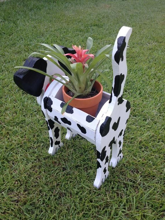 Wooden Animal Planter  Dalmatian is part of Wooden animals - Wooden Planters  Dalmatian With Dog Tag Also have Pig, Frog, Swan and Cow available Well built  Nailed and Glued Planter sprayed with Lacquer for more protection