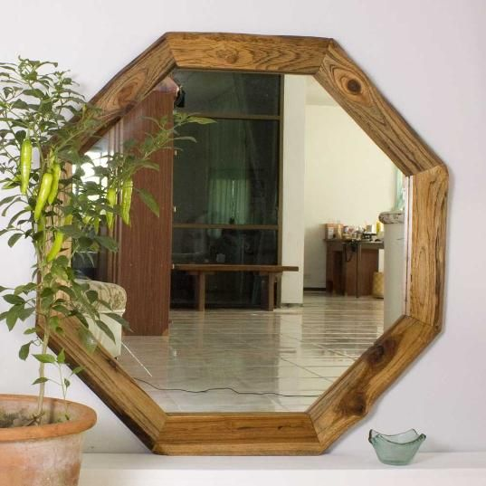 Our Hand Crafted Teak Wood Octagon Mirror Reveals Natural Edges To The Outside Of Frame Bias Cut Swirls Grain Inside