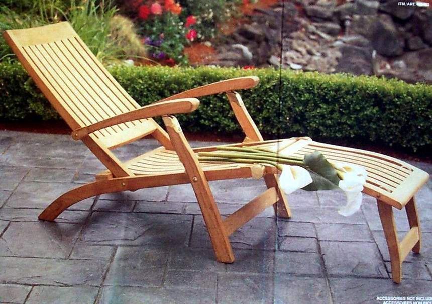 Grade A Teak Wood Premium Steamer Lounger Footrest Sun Outdoor Garden Patio New Teaksmith Teak Wood Furniture Teak Patio Furniture Outdoor Chaise Lounge Chair