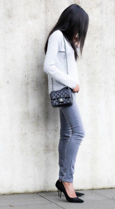 Minimalist Outfit  Grey   Black Grey Maison Scotch Jeans All grey outfit Chanel  mini flap outfit c9737bd40