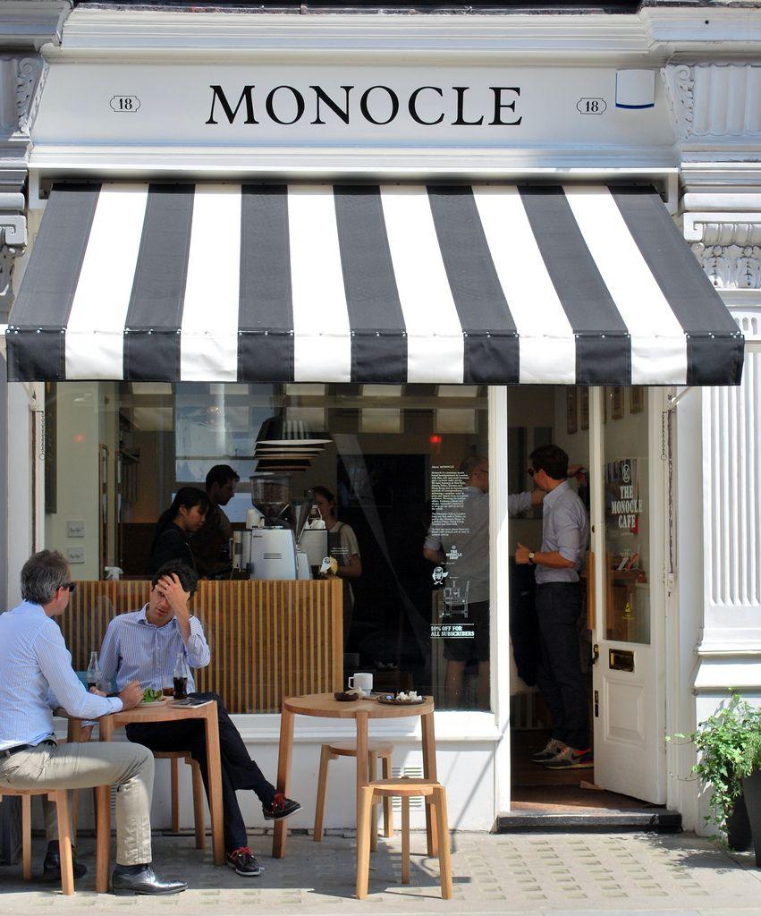Monocle Café   Cafe exterior, Cafe seating, Coffee shop design