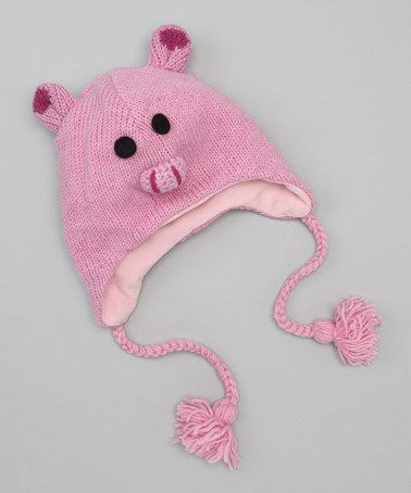 Take a look at this Light Pink Pig Earflap Beanie by Windhorse on #zulily today!