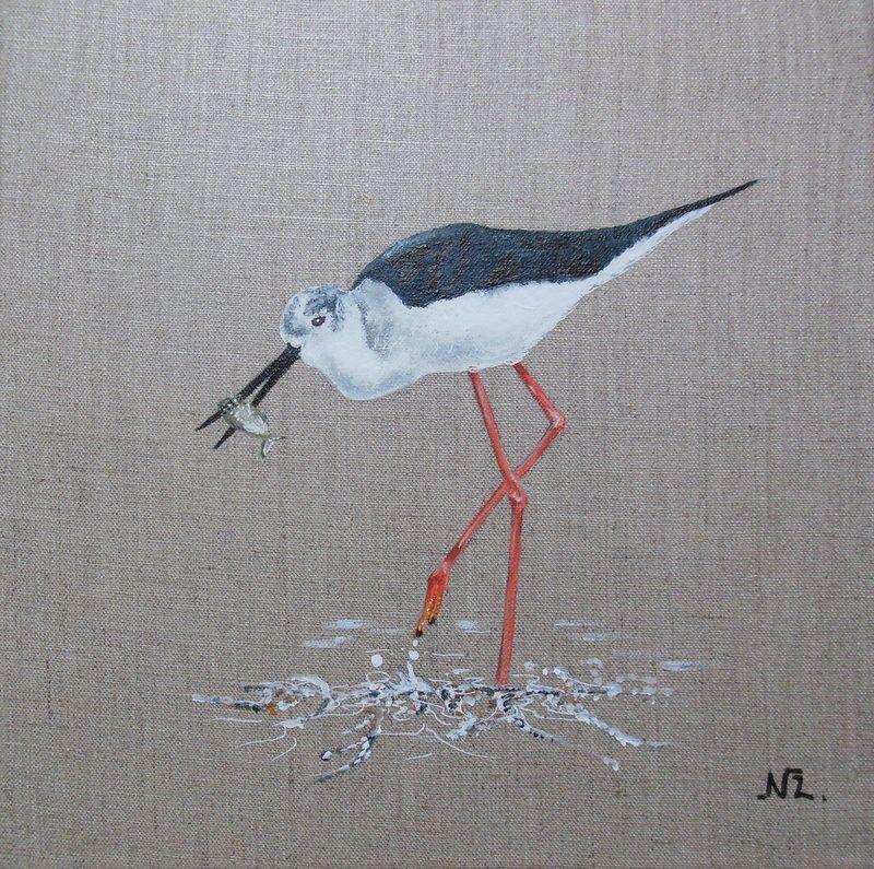 Tableau oiseau une chasse blanche la p che peinture - Peinture sur lin ...