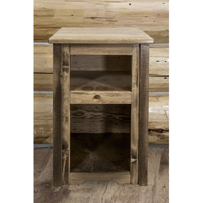 Loon Peak Abella Wood End Table With Storage Wayfair In 2020 Old Wood Projects Wood End Tables Barn Wood
