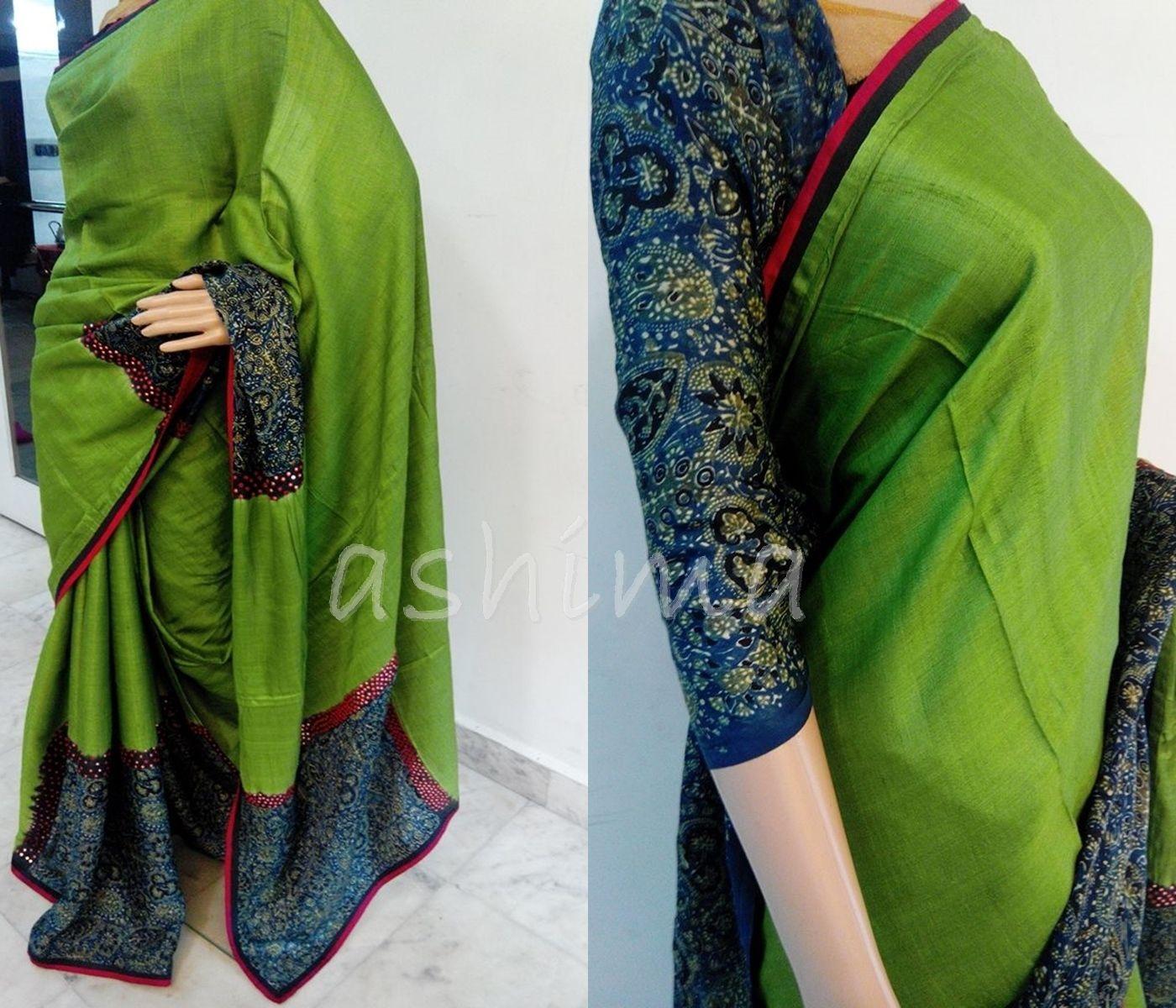 2892c3e459a35 Code 1711163 - Tussar Silk Saree With Ajrak Silk Blouse
