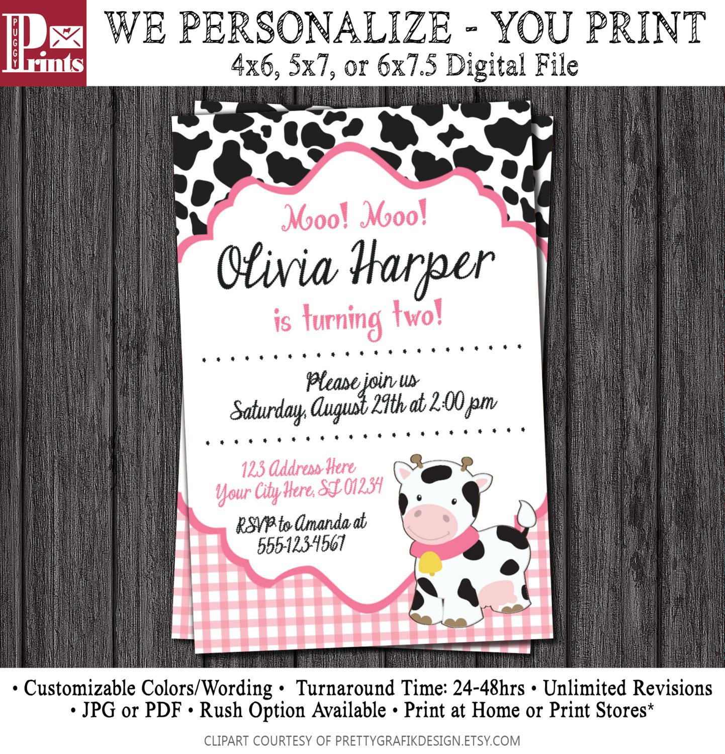 Cow birthday invitation barnyard birthday invitations pink and cow birthday invitation barnyard birthday invitations by puggyprints on etsy filmwisefo