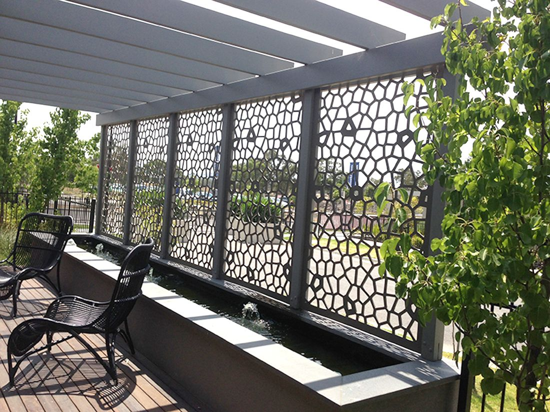 Decorative screens create privacy and shade for patios for Different patio designs