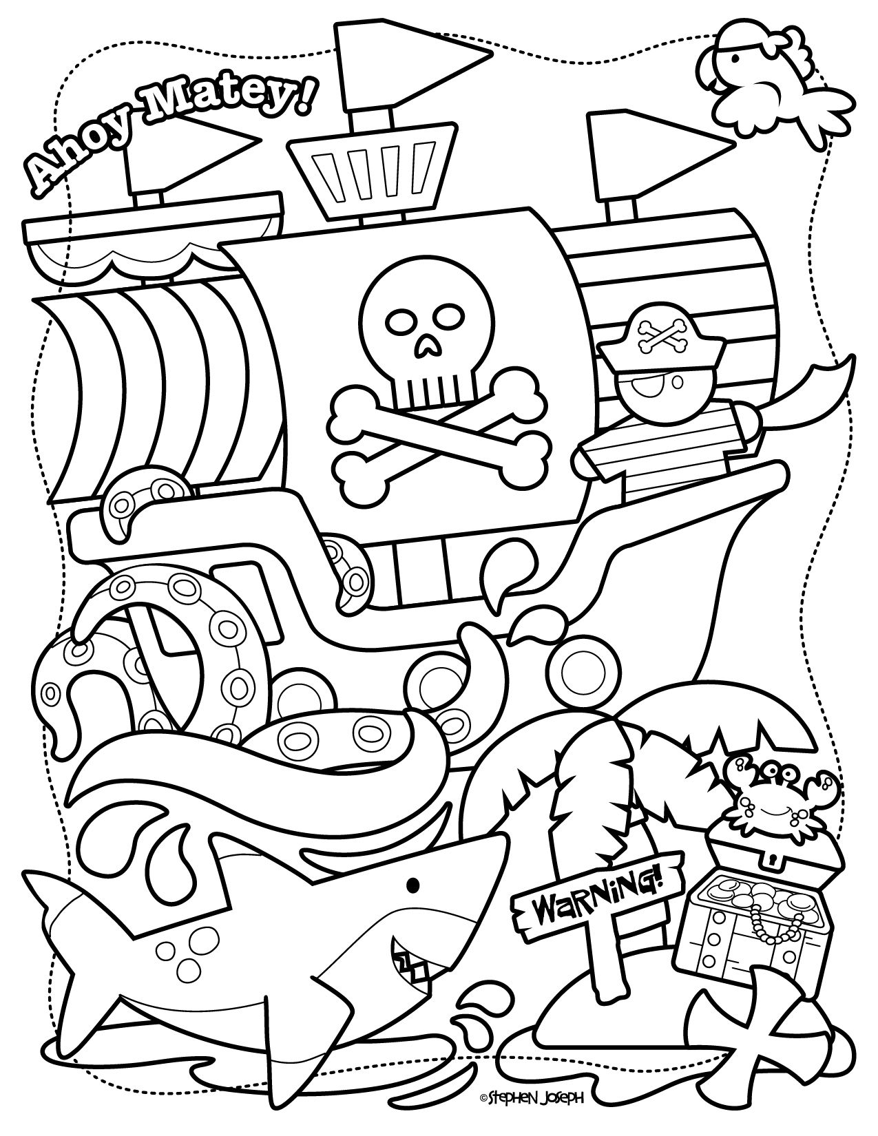 Pirate Coloring Page Printable Free By Stephen Joseph Gifts Pirate Coloring Pages Coloring Pages Princess Coloring Pages