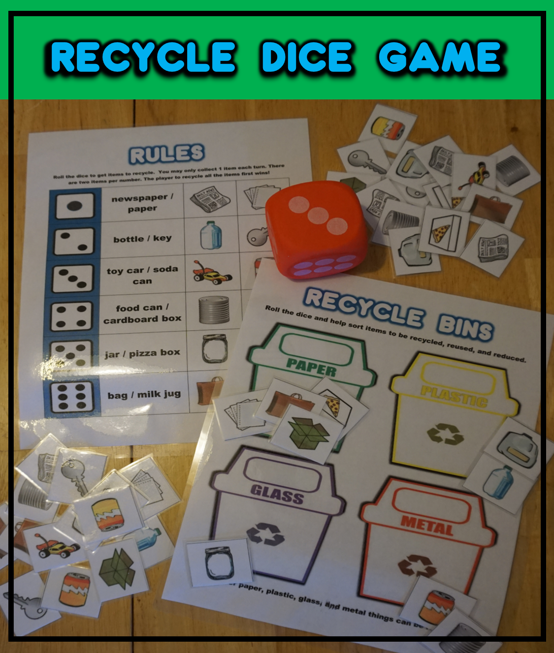 Recycle Dice Game Dice games, Recycling, Games