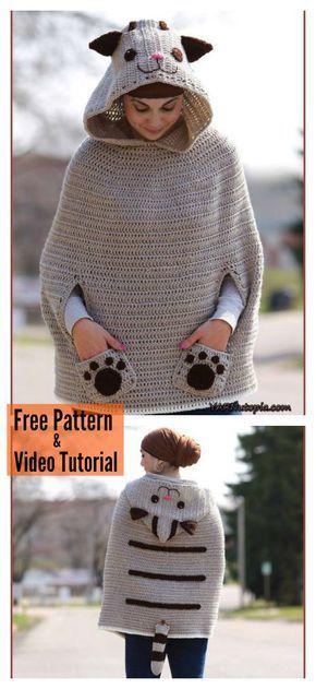Kitty Cat Poncho Free Crochet Pattern | Häkeln, Häkelmuster und Stricken