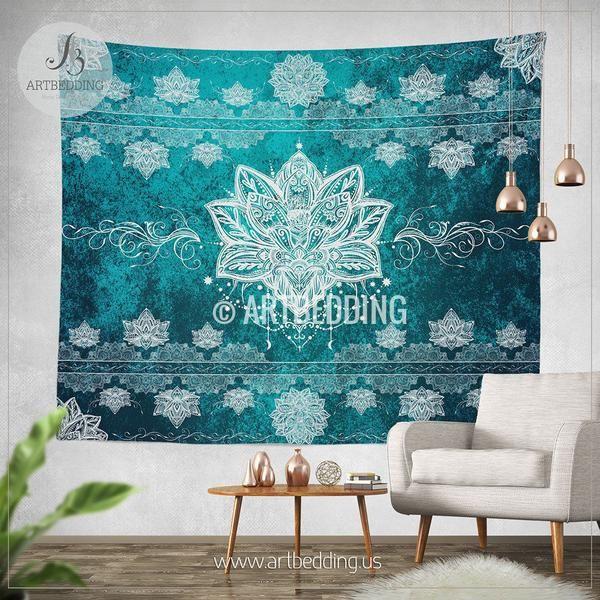 Lotus mandala Tapestry, Lotus mandala wall hanging ...