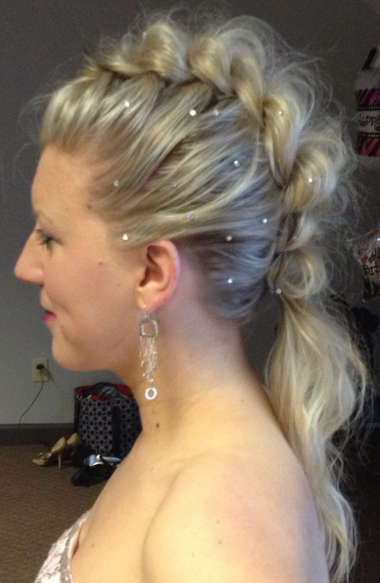 Mohawk braid with swarovski crystals little glam little edge