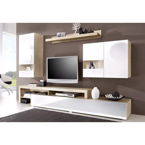 ensemble mural 2 meubles avec vitrine 1 buffet bas 1 complement buffet bas 1 etagere decor chene brut blanc vue 1