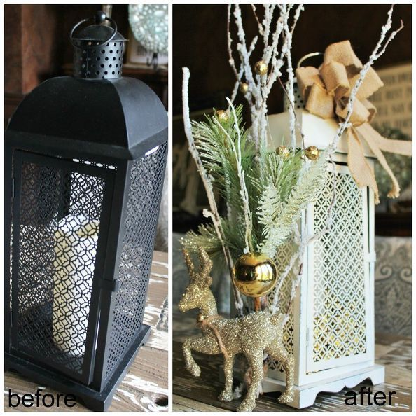 Find A Christmas Lantern on Clearance and Decorate It for Winter