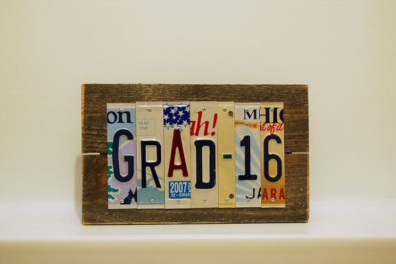 grad 16 graduate graduation 2016 high school college license plate