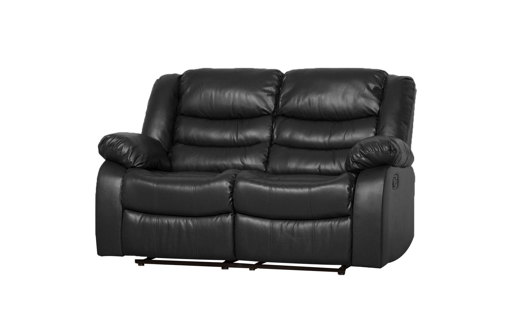 Sorrento Black Leather 2 Seater Recliner Sofa Reclining Sofa Sofa Sofa Furniture