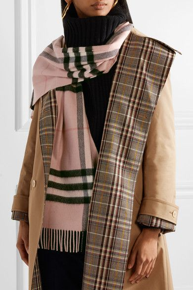 Fringed Checked Cashmere Scarf Burberry
