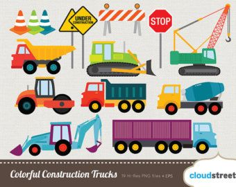 CONSTRUCTION TRUCKS Clipart, Printable, Instant download, PNG ...
