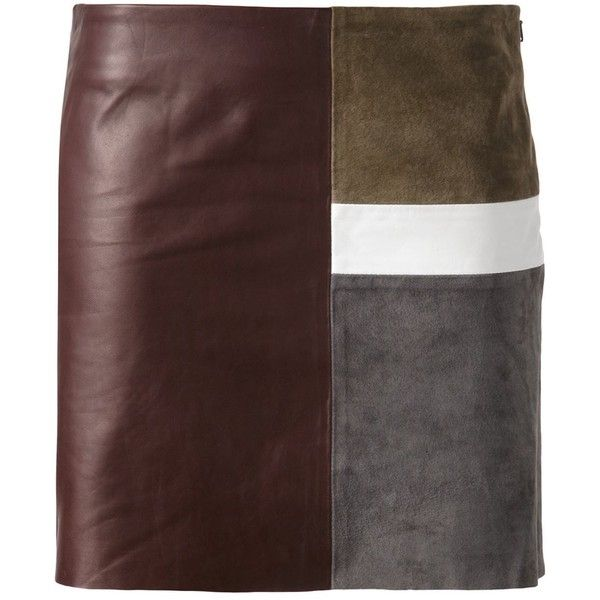 Theory Panelled Mini Skirt ($505) ❤ liked on Polyvore featuring skirts, mini skirts, brown, multi colored skirt, short mini skirts, short brown skirt, colorful skirts and multi color skirt