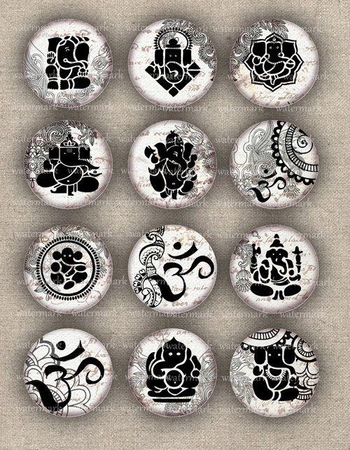 Ganesh Oriental Henna drawing Om Zen elephant by MemoriesPictures
