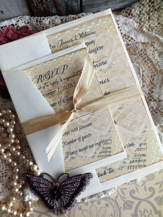 Vintage Lace Sheet Music Wedding Invitation SAMPLE Handmade By Avintageobsession On