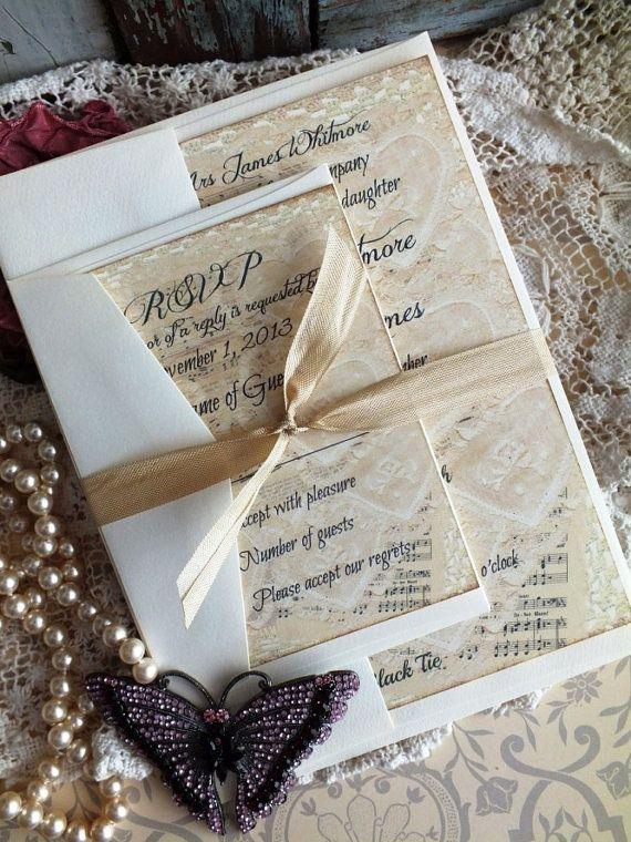 Vintage Lace Sheet Music Wedding Invitation Sample Handmade By Avintageobsession On Etsy
