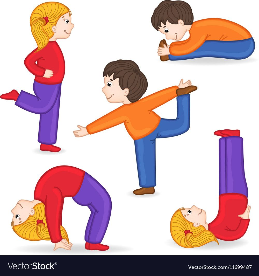 Set Of Isolated Children Doing Exercises Yoga Vector Image On Vectorstock In 2020 Basic Drawing For Kids Exercise Images Exercise For Kids