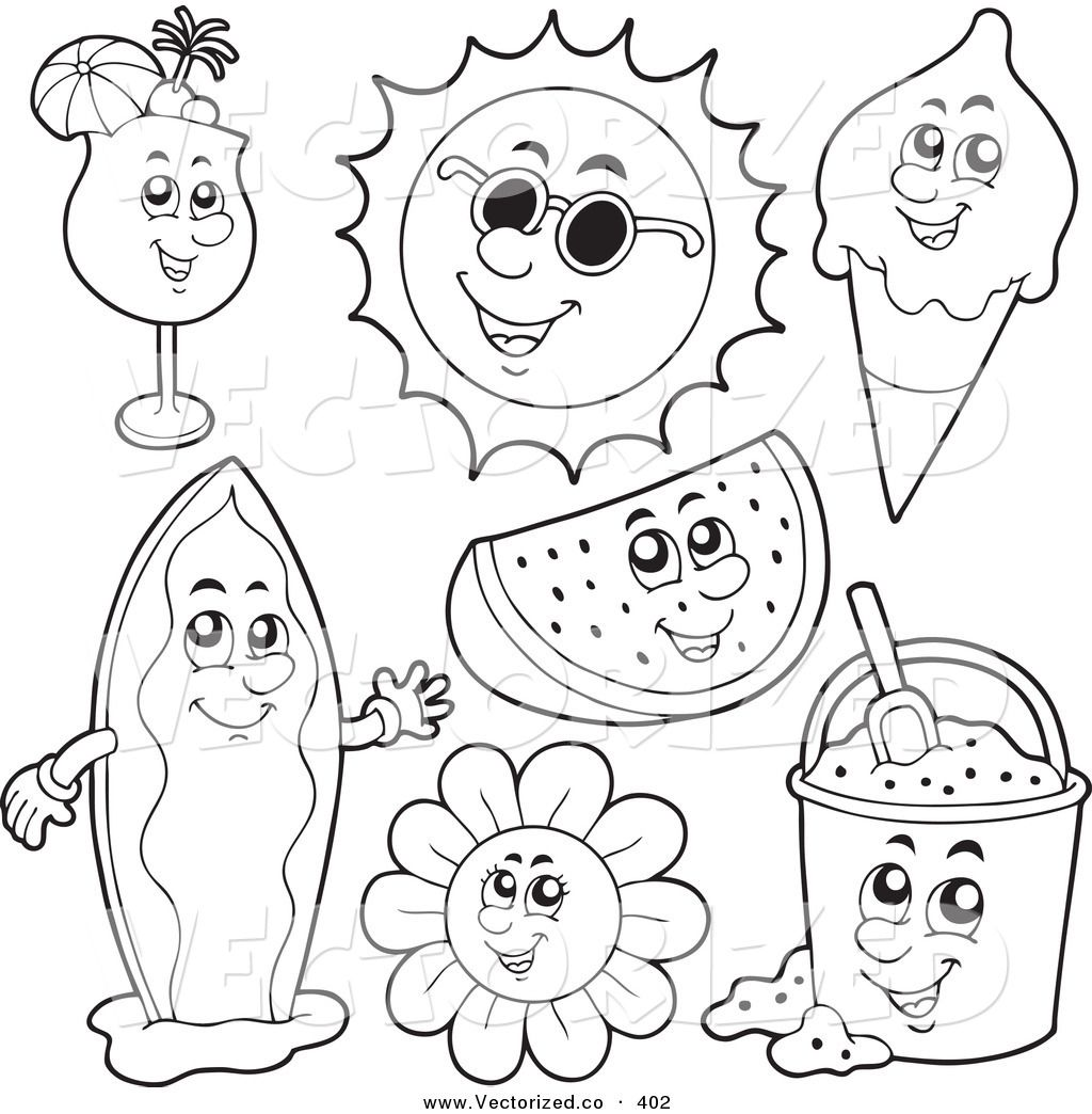 surfboard coloring | Vector of a Group of Coloring Page Outlines of ...