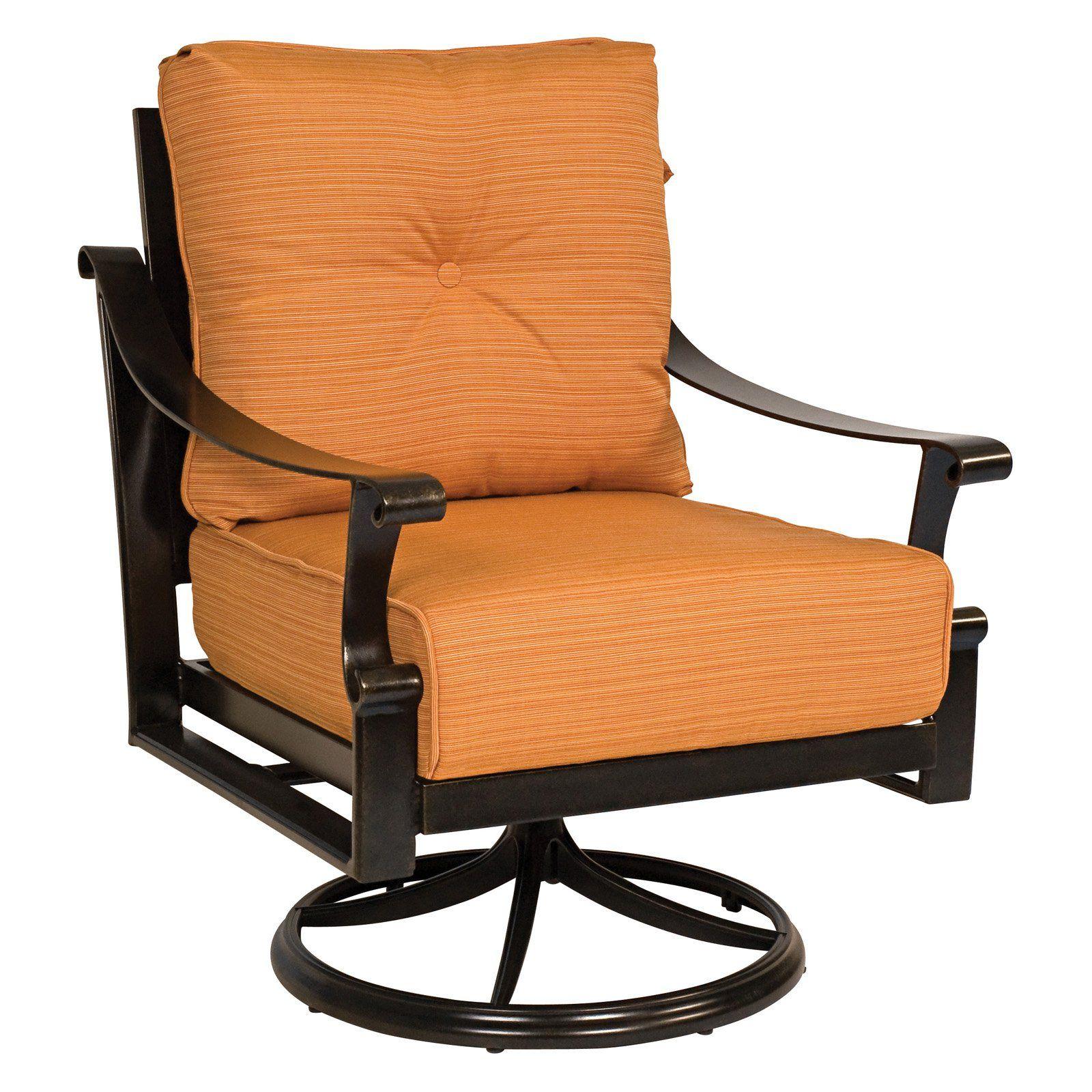 Woodard Bungalow Cushion Swivel Rocker Lounge Chair From