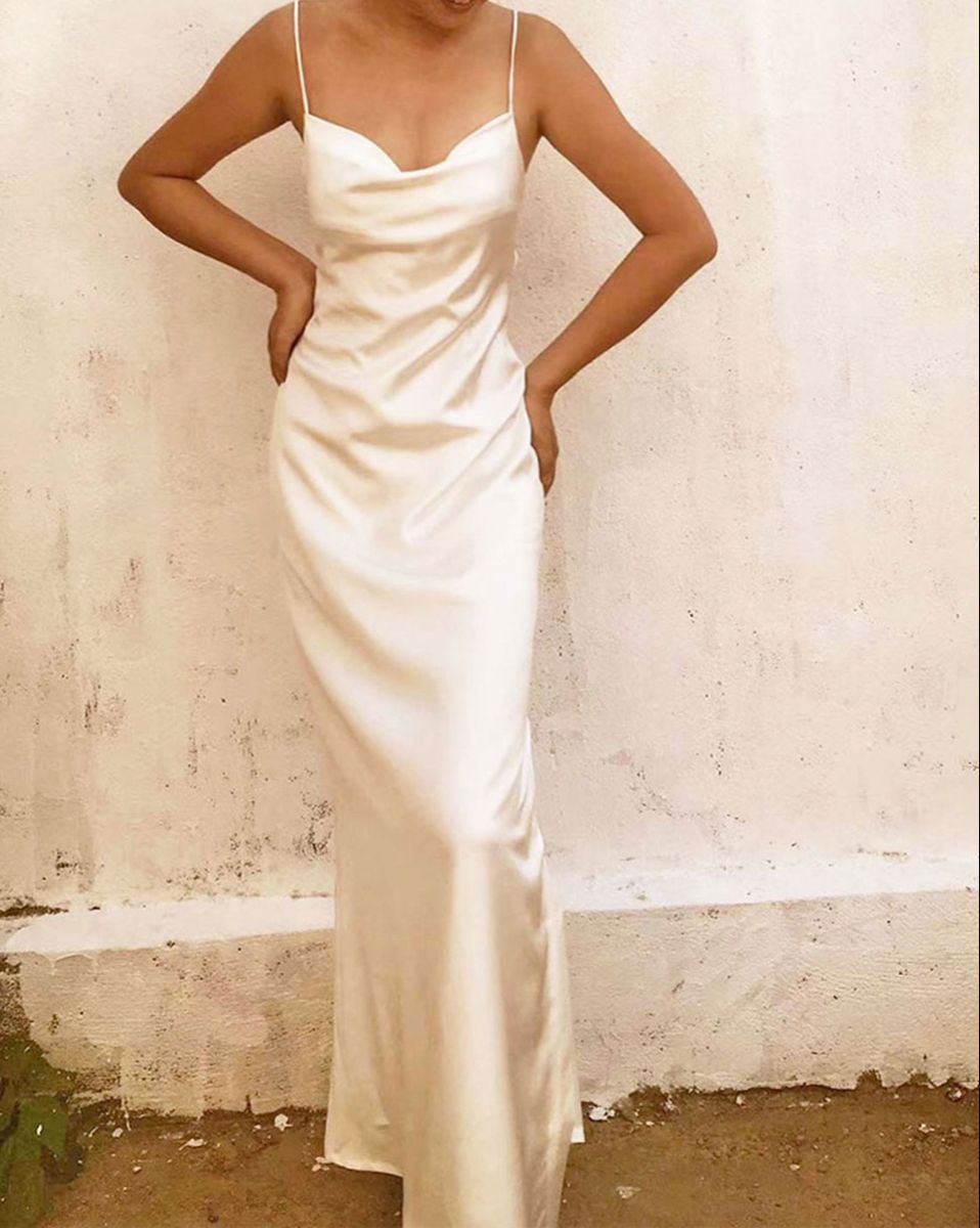 Backless White Bridal Mulberry Silk Cowl Neck Slip Dress