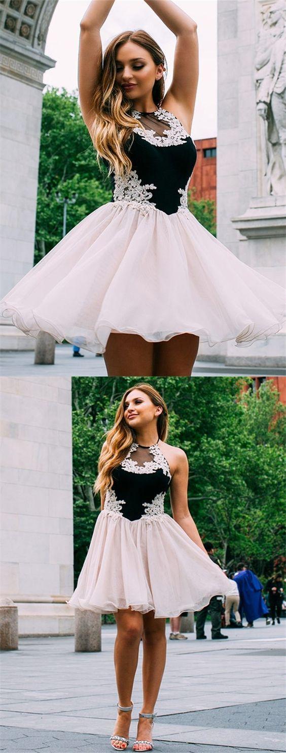 Aline spaghetti straps black short prom dress lace short prom