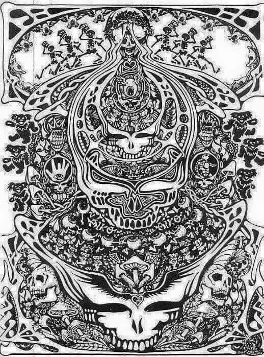 Grateful Dead Coloring Pages : grateful, coloring, pages, Grateful, Adult, Coloring, Pages, Google, Search, Tattoo,, Poster,, Greatful
