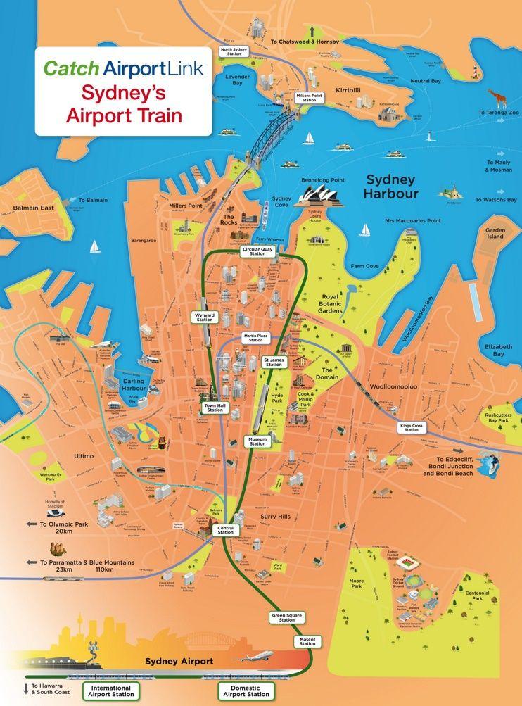 Carte Australie Grande Ville.Sydney Tourist Attractions Map Australia En 2019 Pinterest