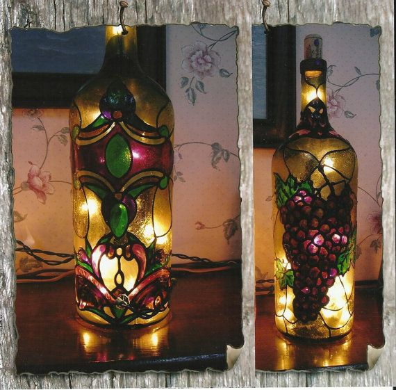 Wine Bottle Lamp With Stain Glass Design Of Purple Grapes Wine Stunning Stained Glass Wine Bottle Decorations