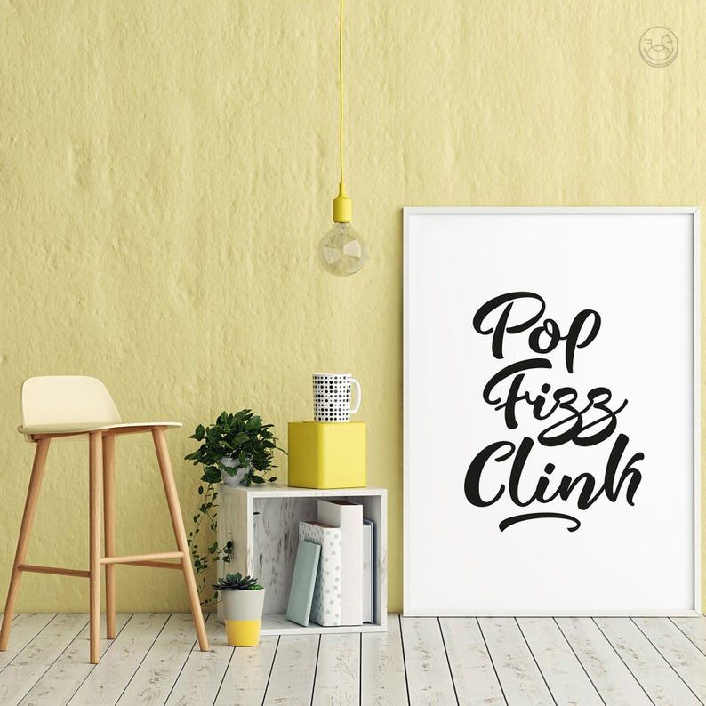 Pop Fizz Clink Wall Art Printable Wall Decor Kitchen Decor Etsy Wall Decor Printables Wall Printables Dining Room Art