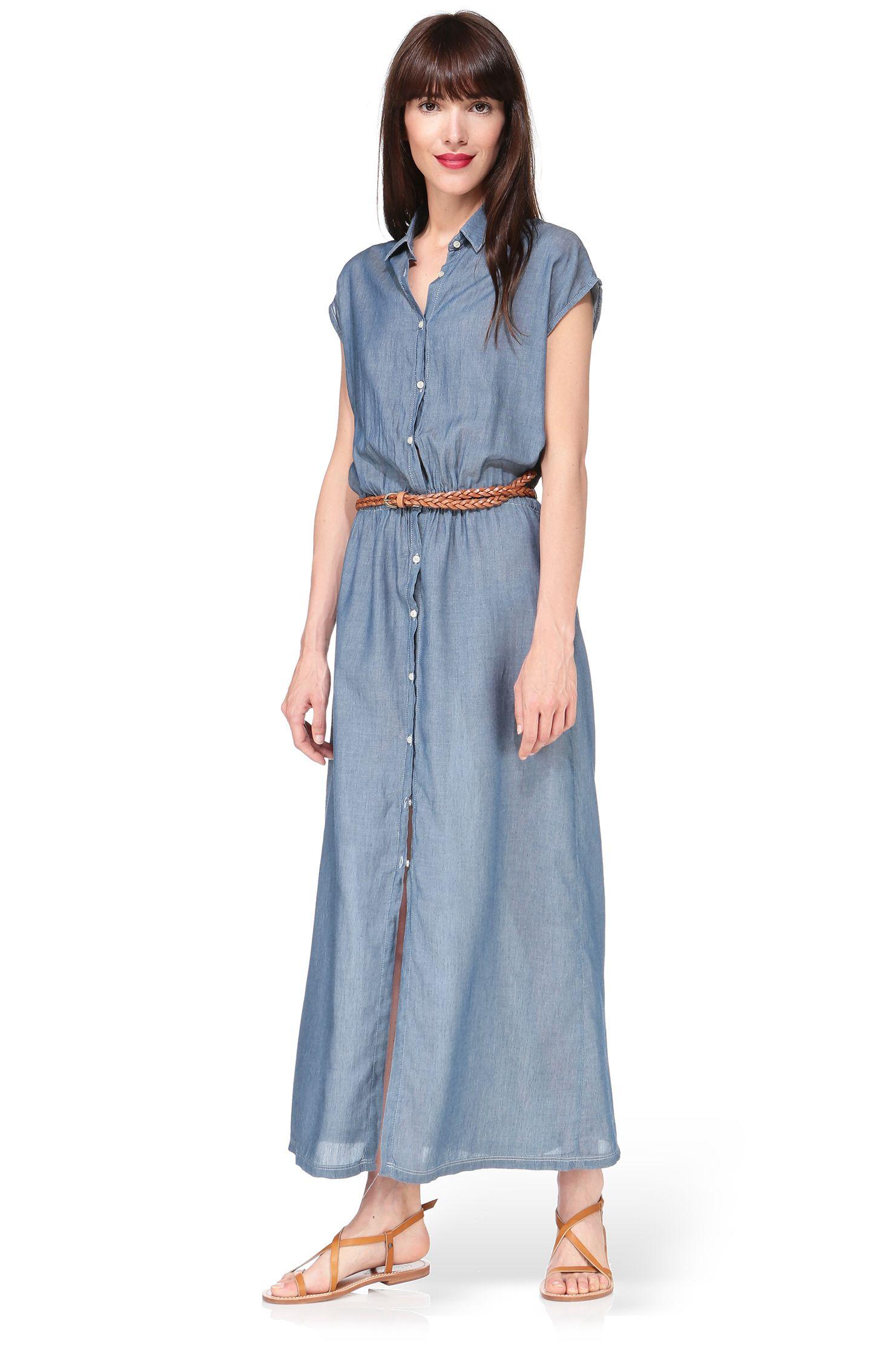Robe chemise longue denim Ocala American Vintage sur MonShowroom.com