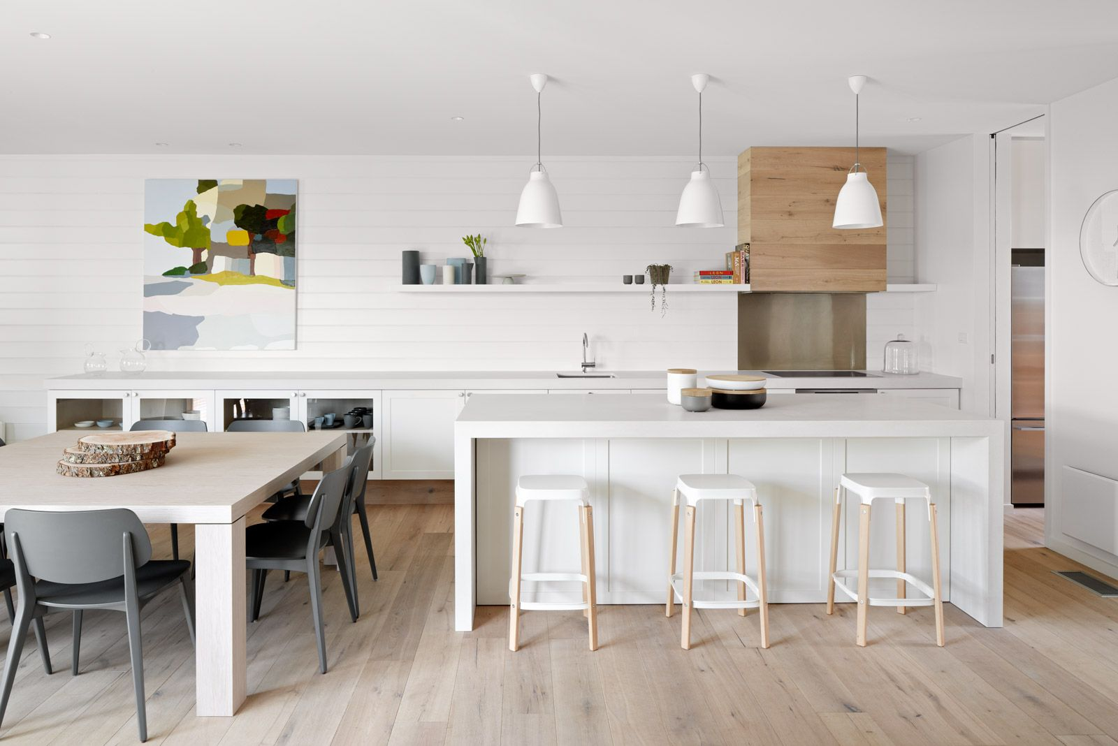 White painted timber lining boards wall and shelving