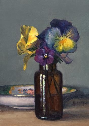 Pansies With Saucer Original Fine Art For Sale C Elizabeth