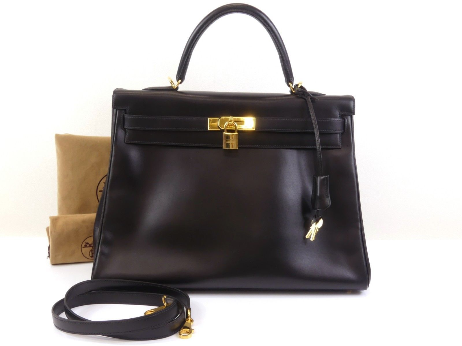 43b32744628 r493 Auth HERMES KELLY 35 In Stitch Black Box Calf Leather 2 Way Hand Bag □F