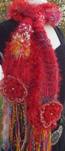 "Fiber Art ""THE HOLIDAY SCARF"" knit scarf red alpaca"