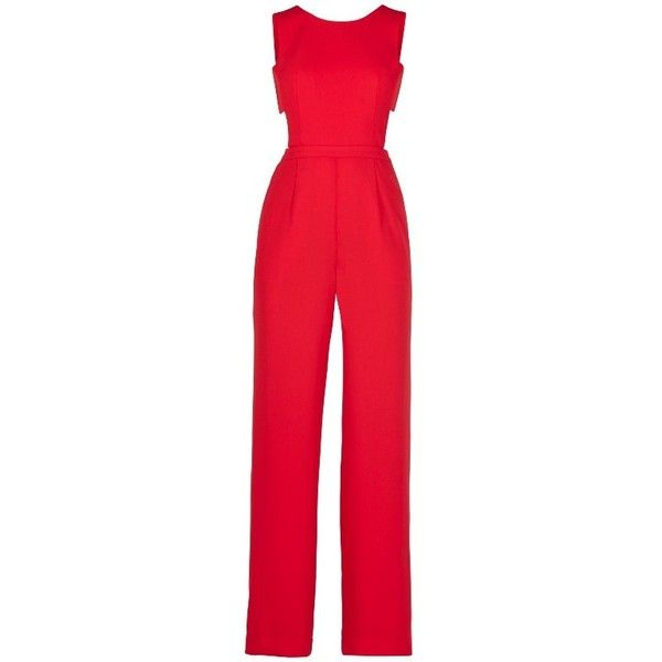 ROSSANA CUTOUT BACK JUMPSUIT (€265) ❤ liked on Polyvore featuring jumpsuits, rompers, dresses, pants, playsuit, red sleeveless jumpsuit, romper jumpsuit, open back jumpsuit, wide leg jumpsuit and playsuit jumpsuit