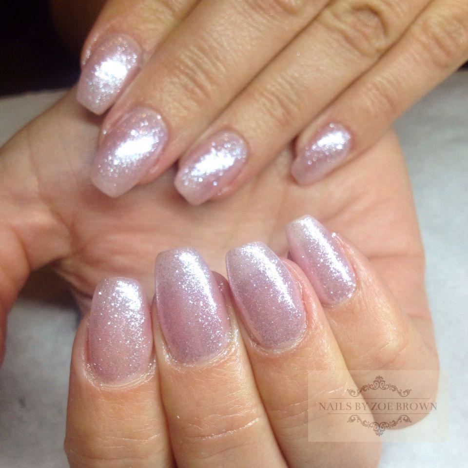 Acrylic overlay, natural nails, CND shellac beau and glitter   Nail ...