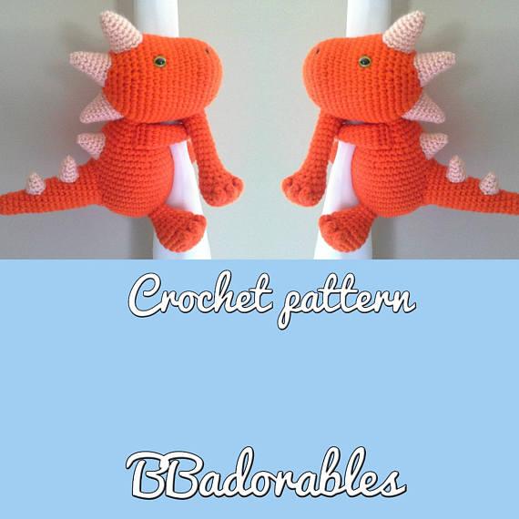 Dinosaurio Dinosaur Curtain Tie Back Crochet Pattern