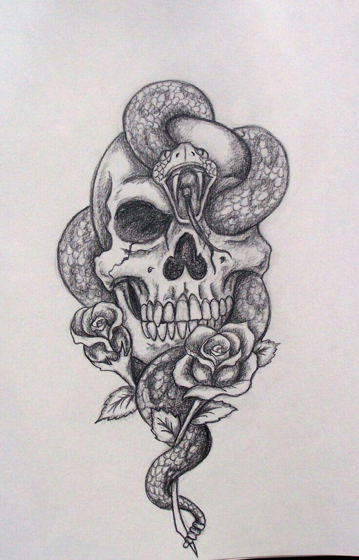 Skull Snake Skull Tattoo Design Tattoos Skull Drawing