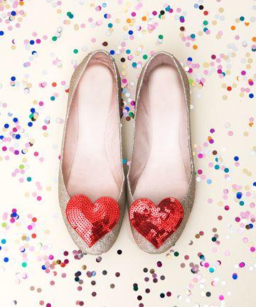 Sparkly heart flats