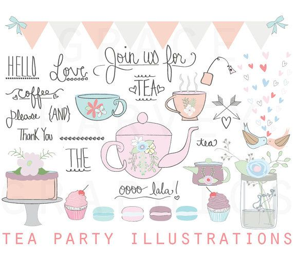 Tea Party ClipArt Wedding Bridal Shower Clip Art Illustration Pack