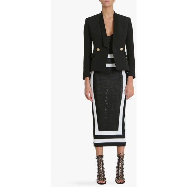 Balmain Double-breasted crepe and viscose blazer (€1.870) ❤ liked on Polyvore featuring outerwear, jackets, blazers, black, balmain blazer, black jacket, double breasted jacket, crepe jacket and black slim fit blazer