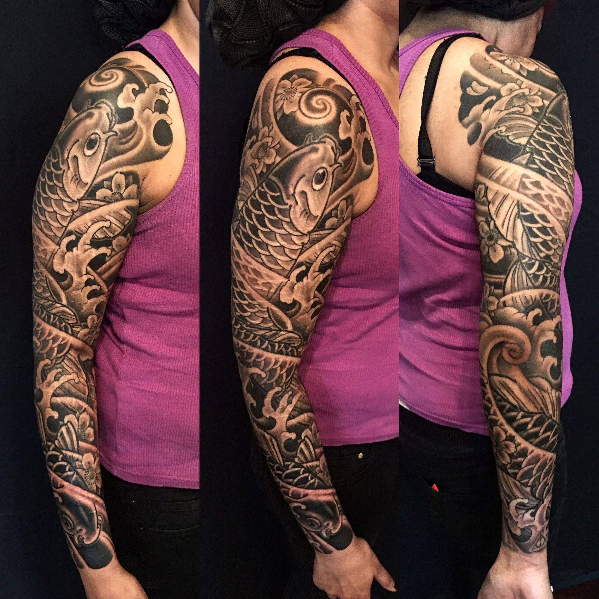 Japanese Full Sleeve Tattoo Black And Grey Sleeve Japanese Tattoo Koi Tattoo Scar Cover Up Full Sleeve Tattoos Sleeve Tattoos Best Sleeve Tattoos